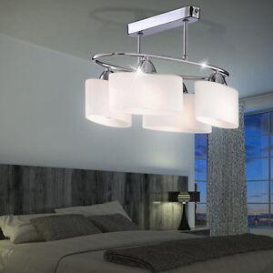 Decken-Lampe-Chrom-Glas-Design-Leuchte-Wohn-Schlaf-Zimmer-Beleuchtung-Diele-Buero