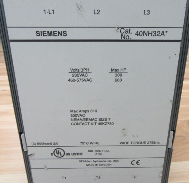 NIB SIEMENS 40DP32BF HEAVY DUTY CONTACTOR  27 AMP 10 HP MAX 120V COIL NEMA 1