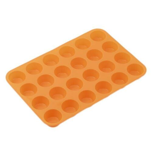 24Cavity Mini Muffin Cup Silicone Soap Cookies Cupcake Bakeware Pan Tray Mould F