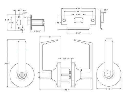 Entry Door Lock Set Grade 1 Lever Keyed Interchangeable Cylinder Core By FPL