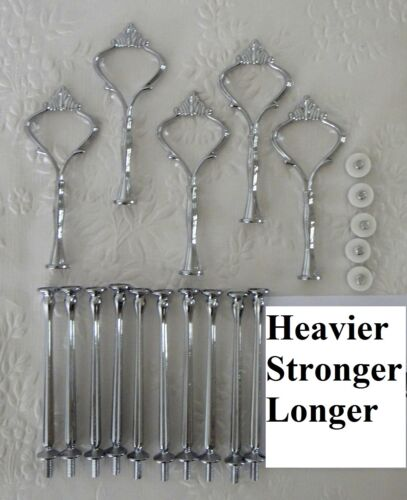 Cake Stand Fittings HEAVY 5 x 3 Tier SILVER CROWN Centre Rods Handle Hardware