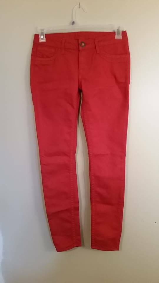 New PRVCY Womens Red London Skinny Leg Jeans Size 29  length 30