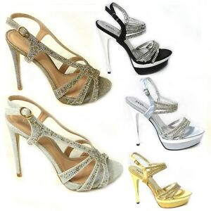 Women Silver Diamante Platform Very High Heel Shoes Party Evening Pumps Size
