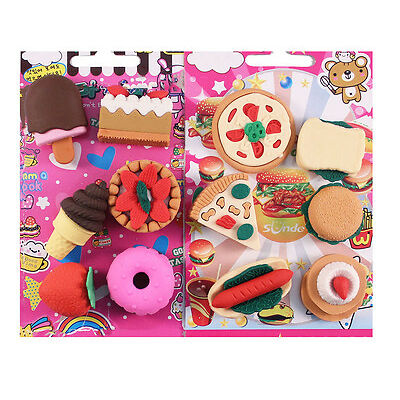 Imported 3D Fast Food Pizza Burger Ice Cream Dessert Shaped Erasers Set For Kids