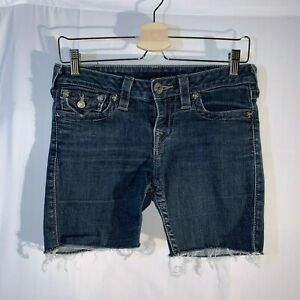 True-Religion-Womens-Joey-Cut-Off-Jeans-Shorts-Size-28