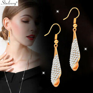 Gold-Sliver-Black-Cubic-Zirconia-Drop-Dangle-Earrings-Wedding-Fashion-Jewelry