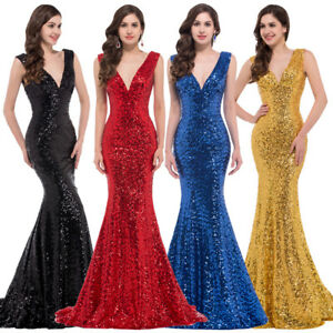Lady-Sexy-Sequins-V-Neck-Mermaid-Dress-Prom-Formal-Party-Bridesmaid-Evening-Gown