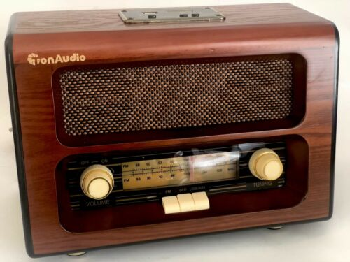 Bluetooth SD Card AUX Retro Style Table Radio Wood Cabinet Old Style FM