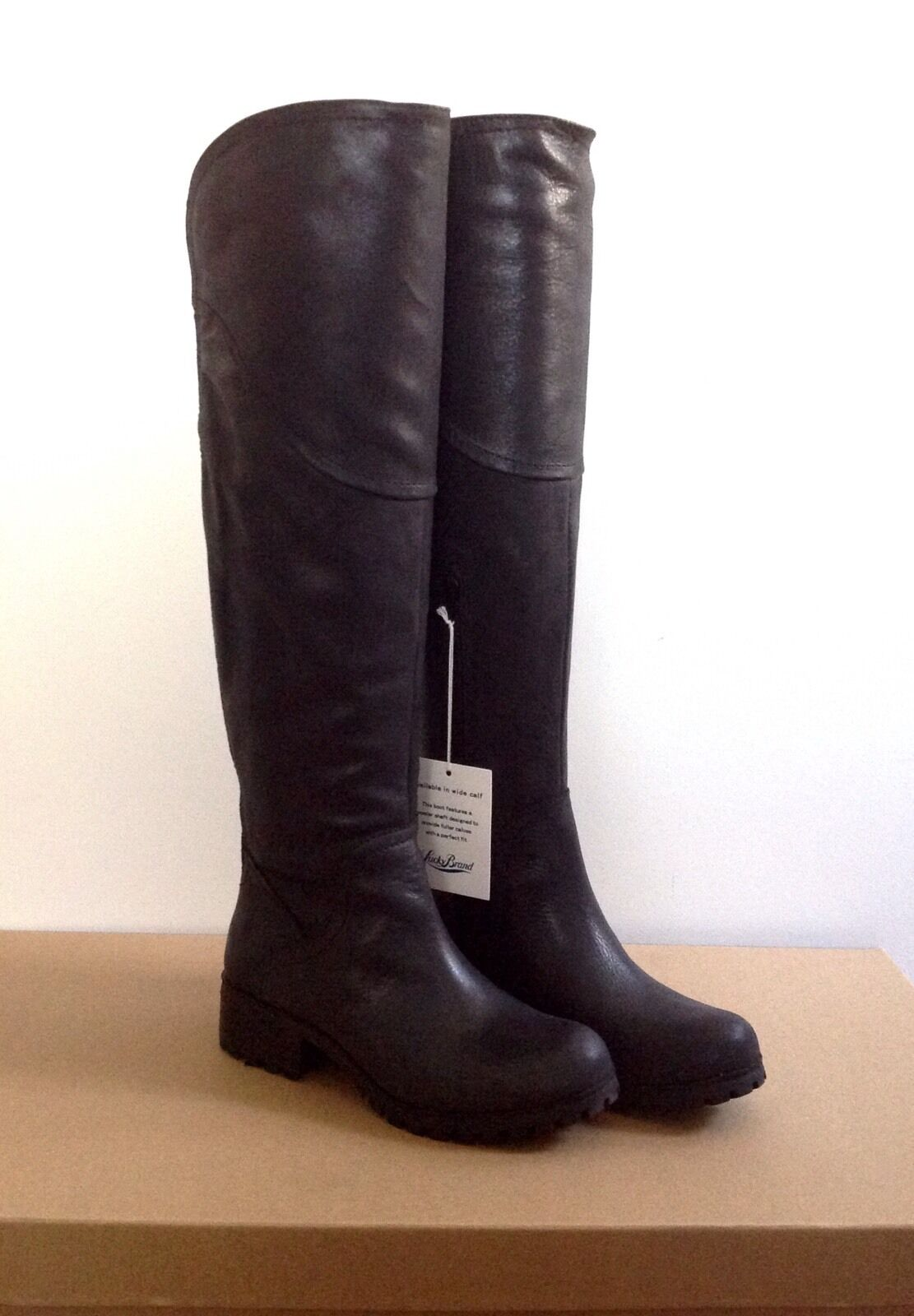 NEW  Lucky Brand  Over-the Knee Boots, Black Leather, 6.5M