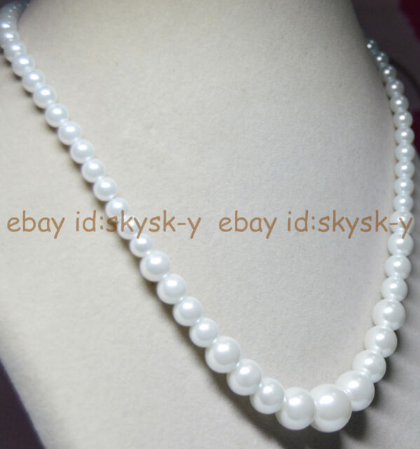 "6-14MM White South Sea Shell Pearl Round Beads Necklaces 18"" Wedding AAA"