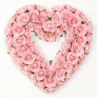 Valentines Heart Wreath Pink Rose Shaped Door Decoration Floral Decor Artificial