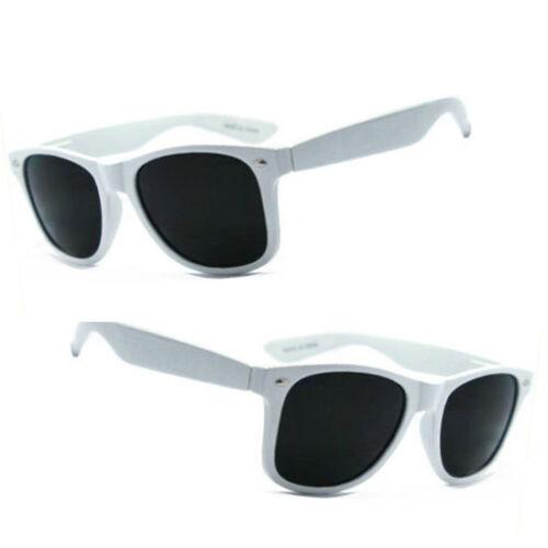 White Frame WF 01 Retro Square Frame Spring Temple Sunglasses UV400