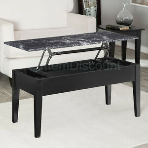 black faux marble lift top coffee table end laptop stand tv dinner tray storage ebay. Black Bedroom Furniture Sets. Home Design Ideas