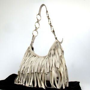 Authentic-YVES-SAINT-LAURENT-138962-Rive-Gauche-Fringe-Shoulder-Bag-leather