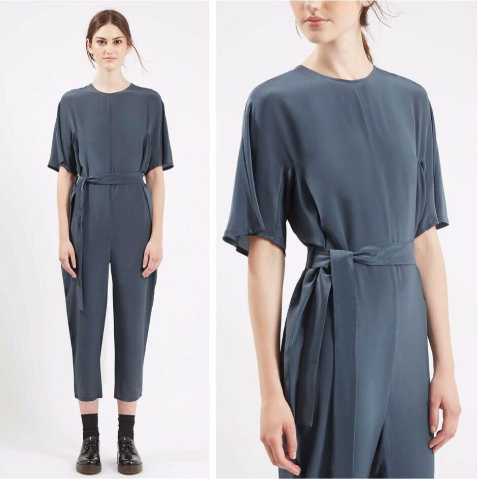 NWT Topshop Boutique Made in UK Solid Silk Judo Belted Jumpsuit SZ 4