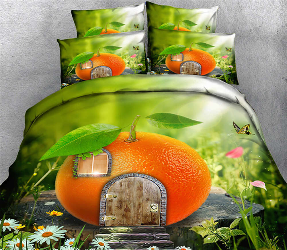 Tangerine House 3D Printing Duvet Quilt Doona Covers Pillow Case Bedding Sets