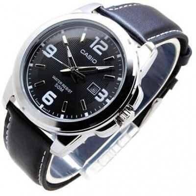 100% Genuine Casio MTP1314L-8A Analog Men's Quartz Black Leather Date Watch NEW