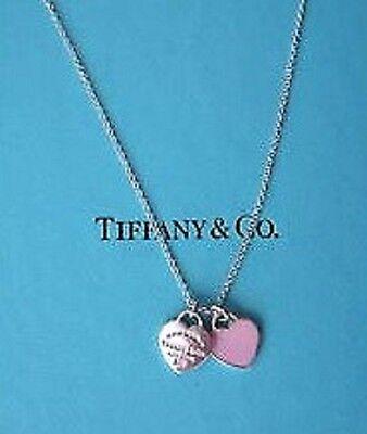 "TIFFANY & CO RETURN TO TIFFANY MINI HEART NECKLACE 16"" TIFFANY PINK STERLING NEW"