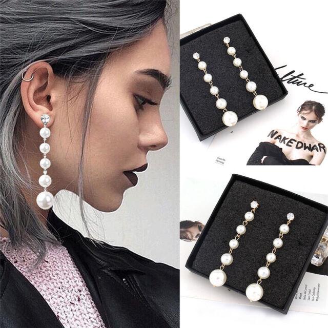 Women's Elegant Big Pearl Long Tassel Dangle Earrings Crystal Stud Drop Jewelry