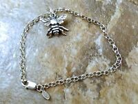Sterling Silver Bee Charm On A Sterling Silver Rolo Bracelet - 1741