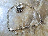Sterling Silver Bee Charm On A Sterling Silver Rolo Bracelet - 1741