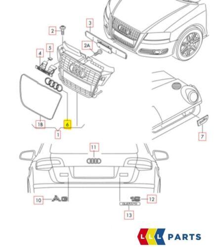 Nuovo Originale Audi A3 A6 Paraurti Anteriore Centrale Griglia Anelli Stemma