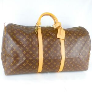 LOUIS-VUITTON-KEEPALL-60-Boston-Travel-Bag-Purse-Monogram-M41422-Brown
