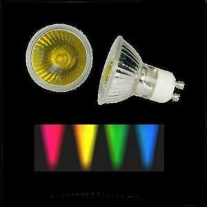 Halogenlampe-50W-230V-GU10-farbig-gelb-Halogen-bunt