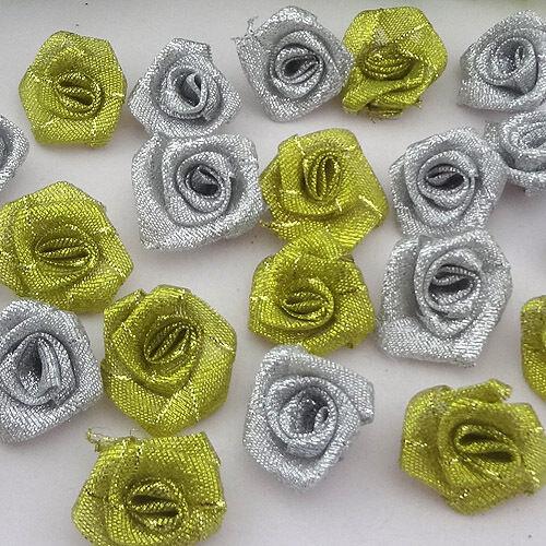 40 piezas Flor Rosa Brillo Metálico Color Plata Hágalo usted mismo Craft Apliques F82
