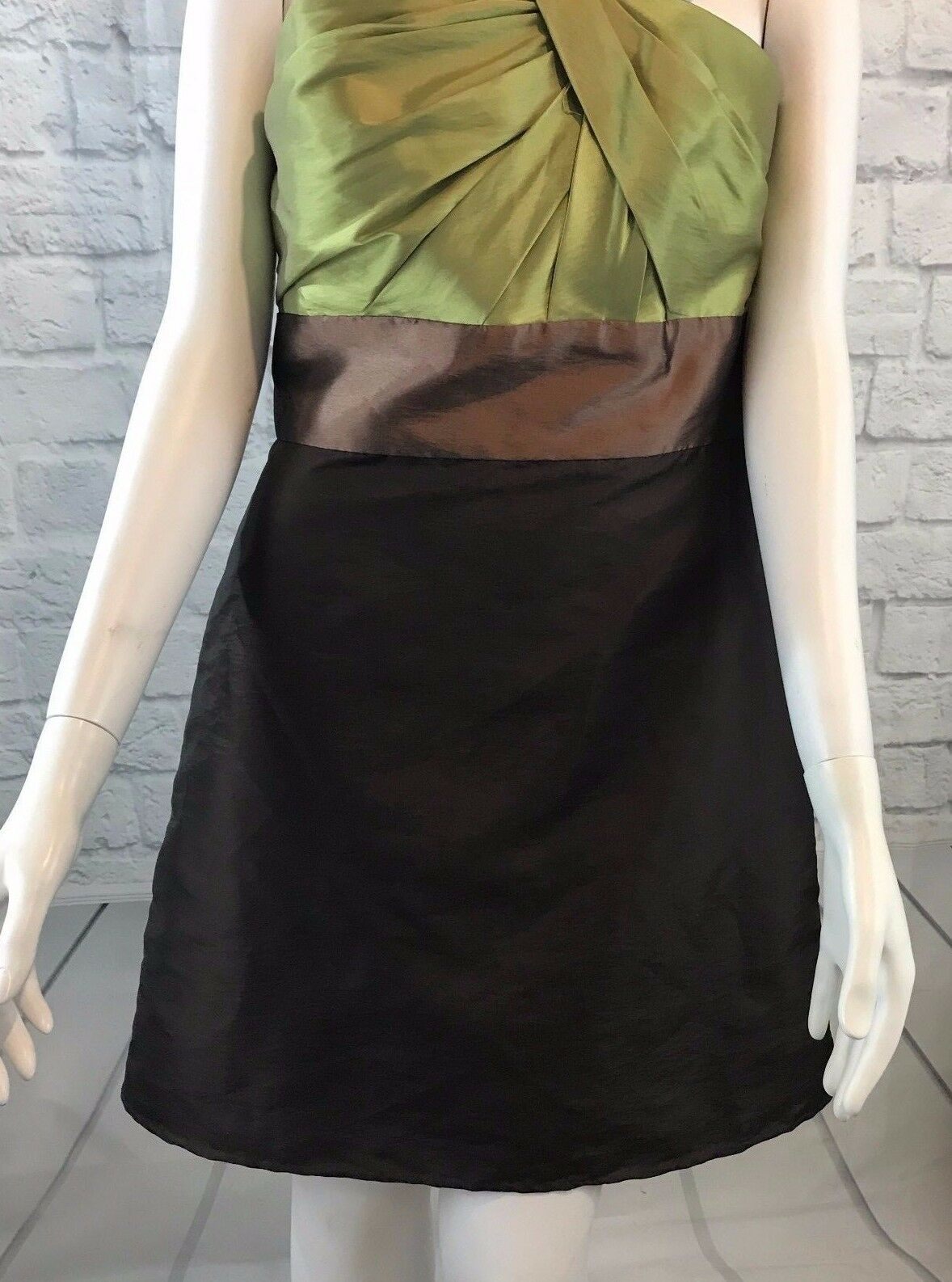WTOO By Watters & Watters One Shoulder Brown Green Evening Short Dress Size 10
