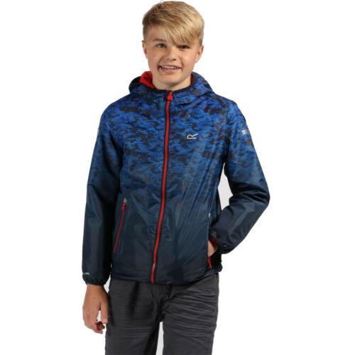 Regatta Junior Printed Lever Waterproof Kids Jacket Top Blue Sports Outdoors