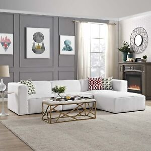 Pleasing Details About Modway Mingle 4 Piece Upholstered Fabric Sectional Sofa Set In White Ibusinesslaw Wood Chair Design Ideas Ibusinesslaworg