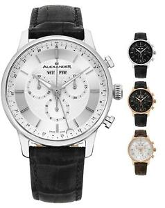 Alexander-Swiss-Made-Men-039-s-Chronograph-42mm-Leather-Strap-Watch-Sapphire-Crystal