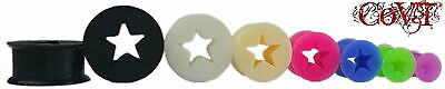 "Pair 6g-20mm"" Star Cut Out Silicone Tunnels Eyelets Ear Gauges Plugs Black White"