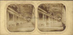 Palais Da Diane Fontainebleau Foto Stereo Diorama Tessuto Vintage Albumina c1860