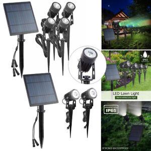 2x RGB LED Solarleuchte Strahler Solarstrahler Gartenlampe Spot Licht Außen IP65