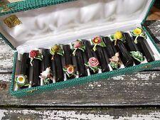 Vintage lot de 12 french porte couteaux en céramique fruits oiseaux ch. mallier