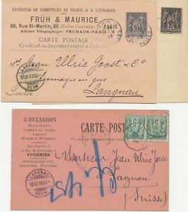 France-1895-8-Allegorie-commerce-U-paix-5-C-2x-comme-Auchinleck-U-2-x-10-c-EF-BF