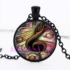 Music note Photo Glass Pendant Black Necklace for man woman Jewelry#H48
