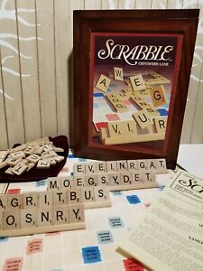 Scrabble-COMPLETE-Vintage-Game-Collection-Crossword-Wood-Box-Bookshelf-Word