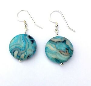 93c572788a67d Details about BLUE CRAZY LACE AGATE Dangle Sterling Silver Earrings 9213  VALENTINE GIFT
