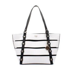 Dettagli su GUESS borsa donna cabas Exie bianco e nero shopping a spalla con pochette € 135