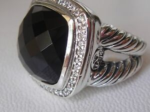 $1450 David Yurman Large Albion Noir Onyx Diamond Ice Ring-afficher Le Titre D'origine
