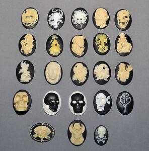 Skull-Zombie-Dragon-Goth-silicone-mold-sugarcraft-HALLOWEEN-mould-cameo-fimo