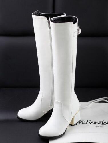 Women Fashion Buckle Knee High Knight Boots Ridding Mid Cuban Heel Shoes Plus Sz