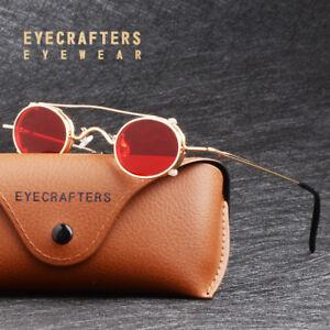 Retro-Vintage-Small-Round-Metal-Sunglasses-John-Lennon-Steampunk-Glasses-Red