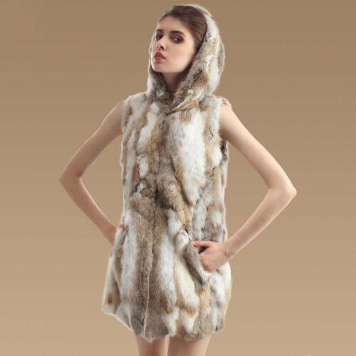Manteau de Fourrure Réelle de Lapin avec Capuche Gilet de Luxe de 75cm de Long