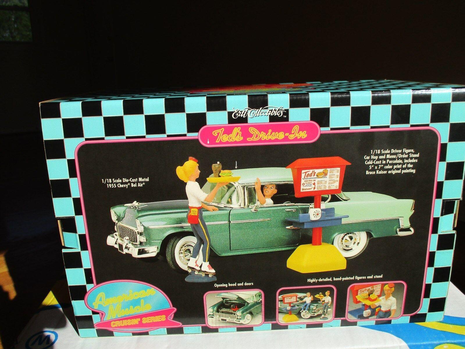 1 18 Die Cast & Porcelana Ertl Diorama  Ted's Drive-in  Menta En Caja Difícil de encontrar