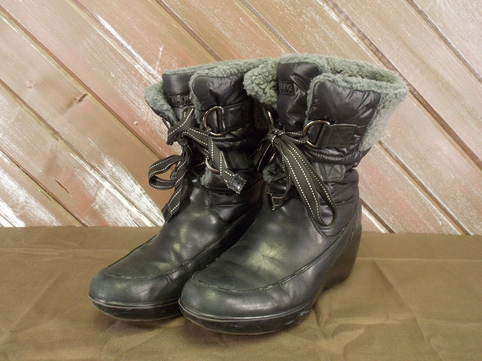 Sperry top-Sider Winter Boots Black Size 7M Women Wedge Heel