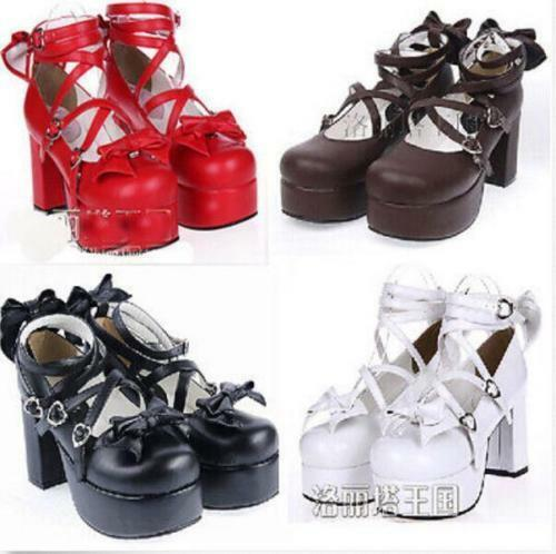 Lolita femmes Cosplay Cute Bowknot Pumps Mary jane Ankle Strap Chunky Heel chaussures